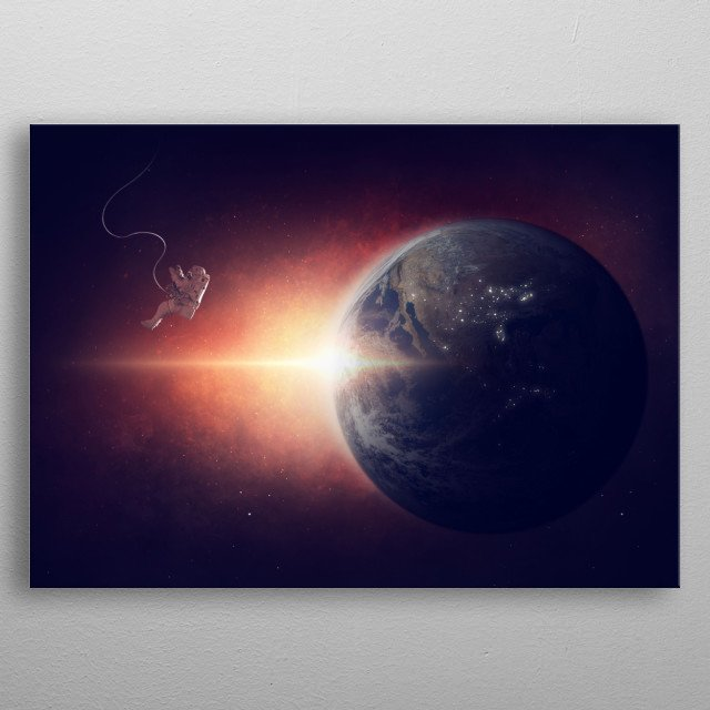 Astronaut in Space metal poster
