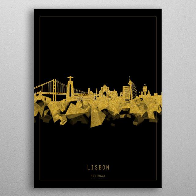 Lisbon skyline inspired by decorative,black and gold,art design metal poster