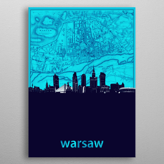 Warsaw skyline inspired by decorative,turquoise,cartography pop art design metal poster