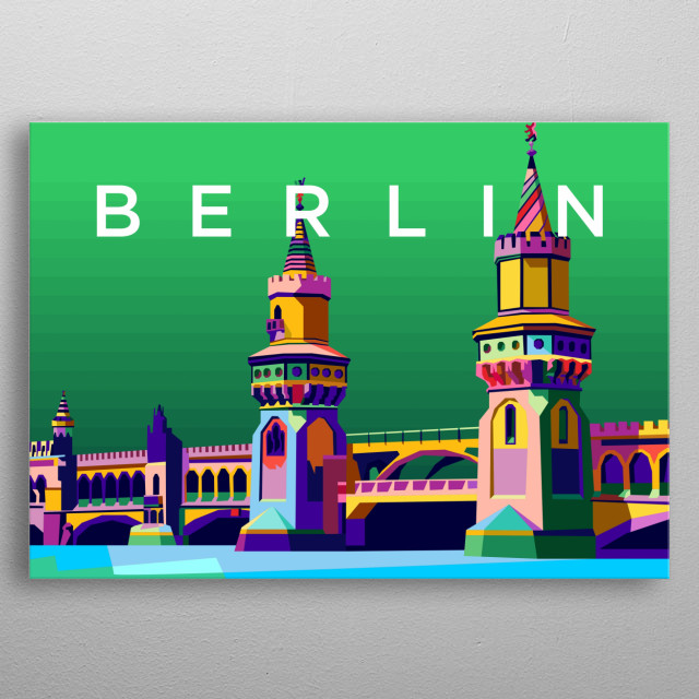Colorful berlin city design illustration metal poster