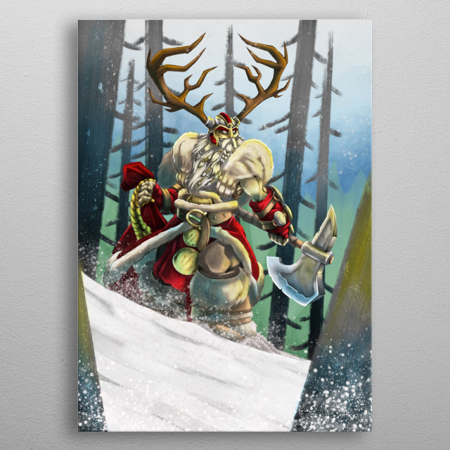Part of my instagram christmas art challenge: The 12 knights of Christmas metal poster