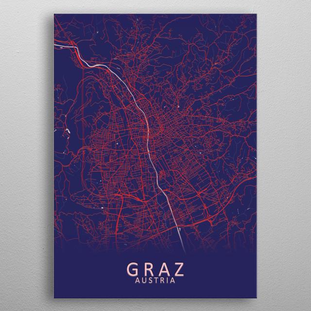 Graz Austria City Map metal poster