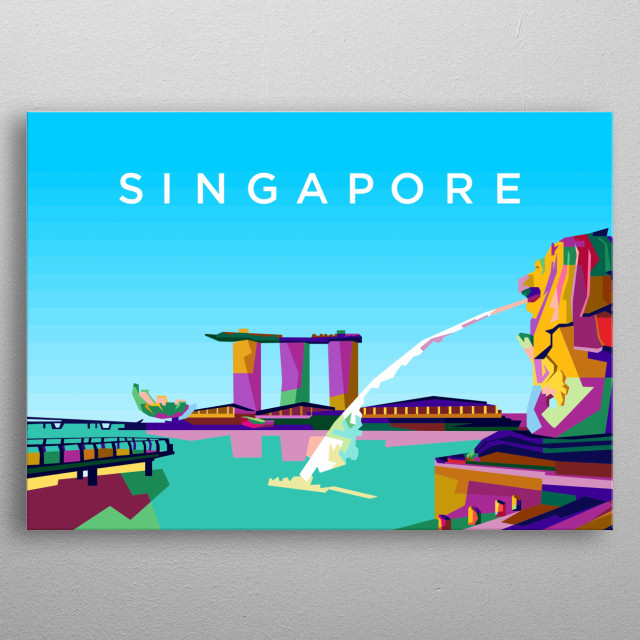 Colorful singapore city design illustration metal poster