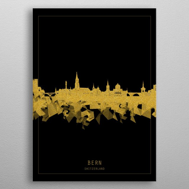 Bern skyline inspired by decorative,black and gold,art design metal poster