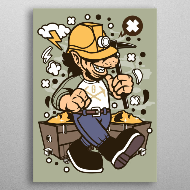 Wolf Gold Miner metal poster