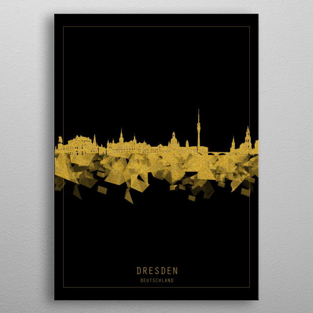 Dresden skyline inspired by decorative,black and gold,art design metal poster