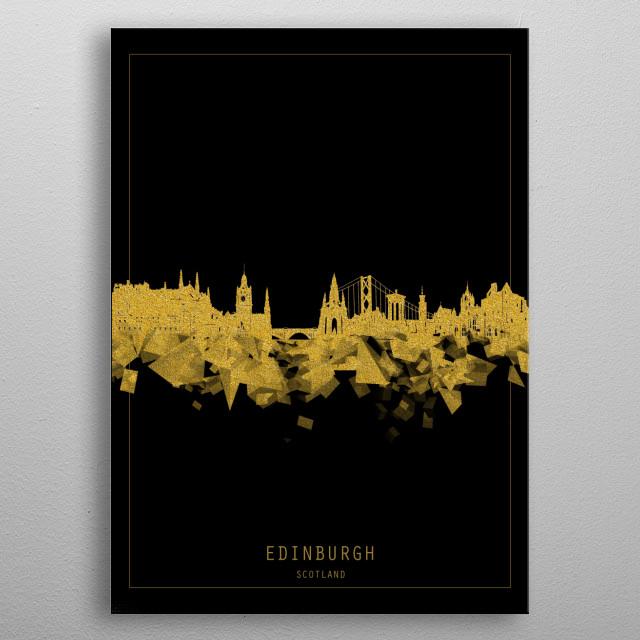 Edinburgh skyline inspired by decorative,black and gold,art design metal poster