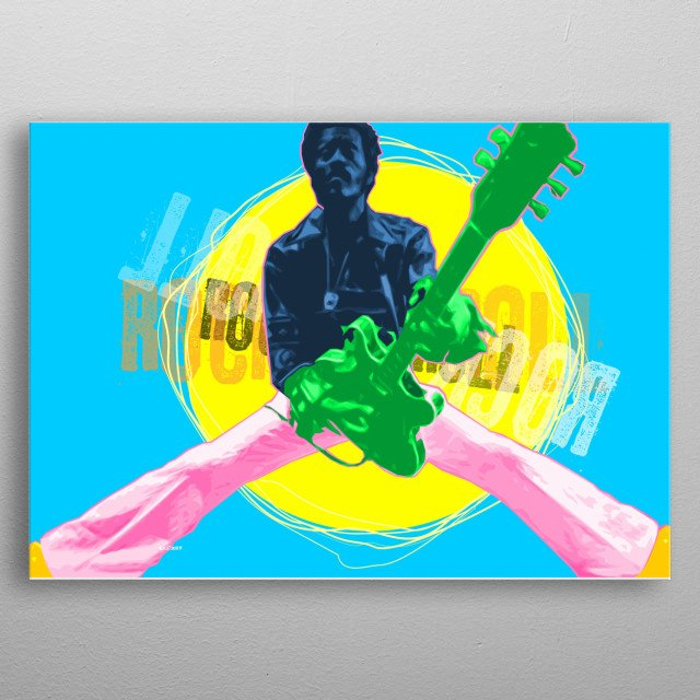 Computer graphic art print image file of chuck berry in colorful geometric pop art style. metal poster