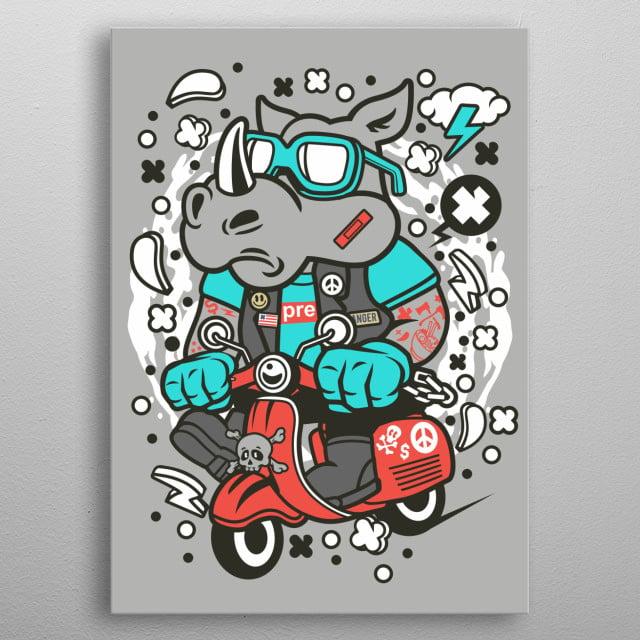 Rhino Scooterist metal poster