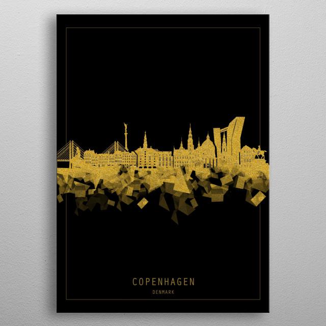 Copenhagen skyline inspired by decorative,black and gold,art design metal poster