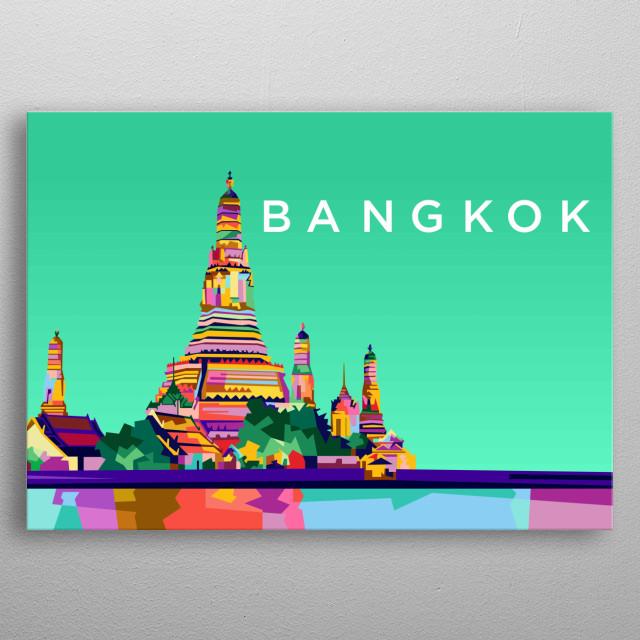 Colorful bangkok city design illustration metal poster