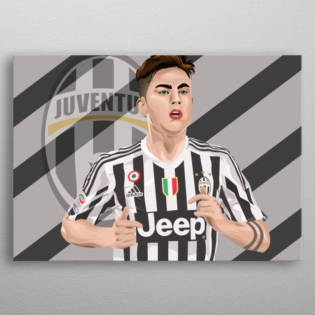paulo dybala in vector style metal poster