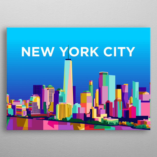 Colorful new york city design illustration metal poster