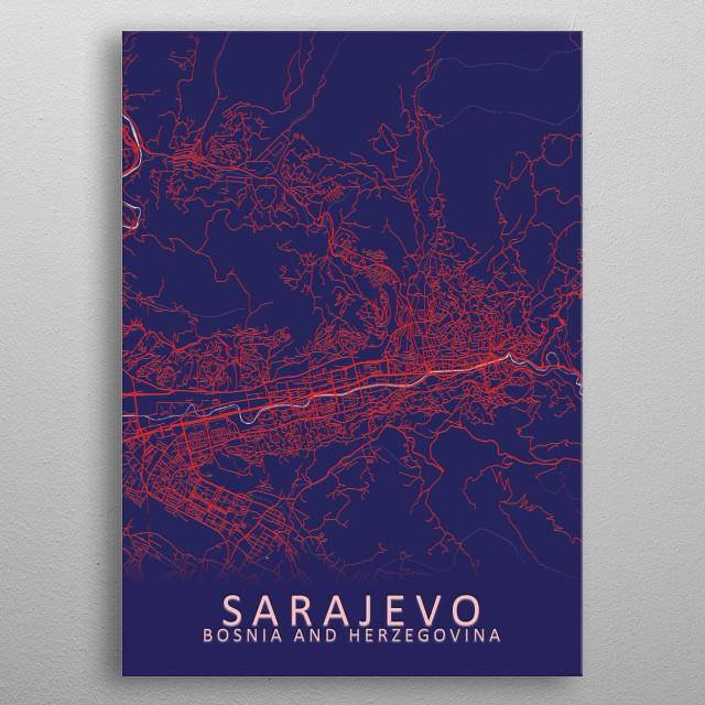Sarajevo Bosnia and Herzegovina City Map metal poster