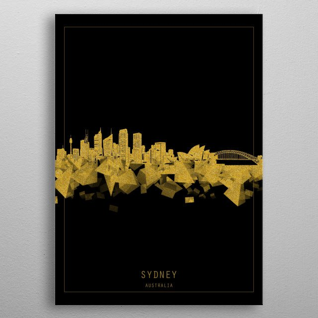 Sydney skyline inspired by decorative,black and gold,art design metal poster