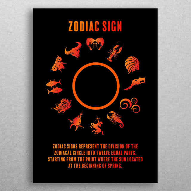 Zodiac signs represent the division of the zodiacal circle into twelve equal parts, starting from the point where the Sun located. metal poster