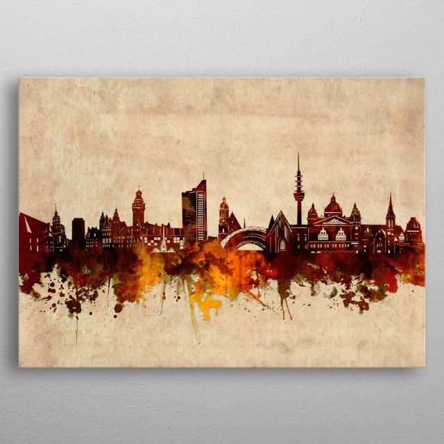 Leipzig  skyline inspired by old,vintage,grunge,silhouette,art design metal poster