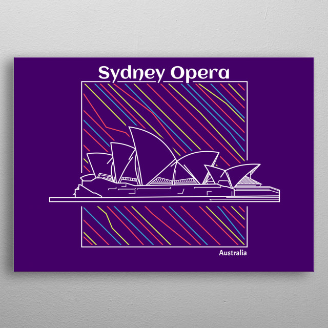 sydney opera house, with colorful lineart metal poster