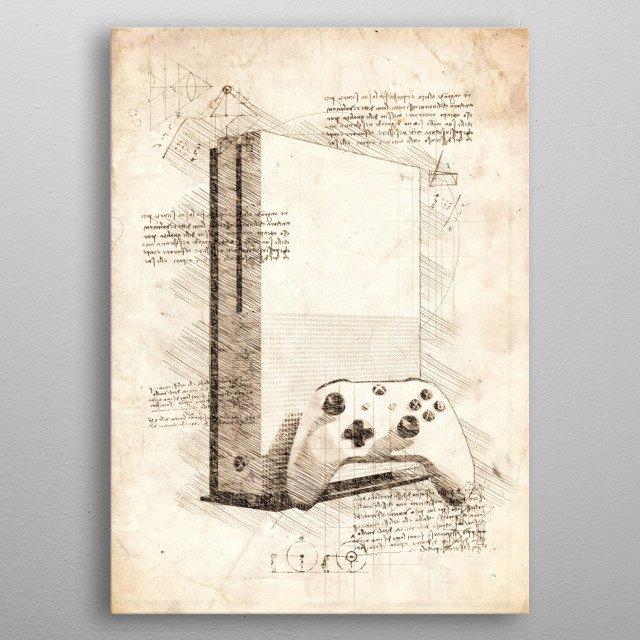 Sketch of the Xbox One S metal poster