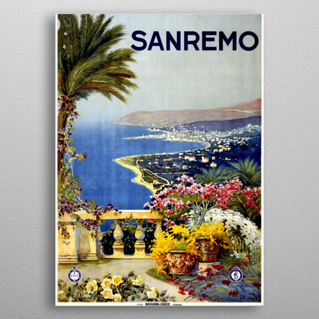 Vintage travel poster of Sanremo, Italy. metal poster