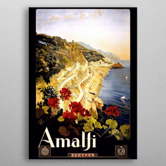 Vintage travel poster of Amalfi, Italy. metal poster