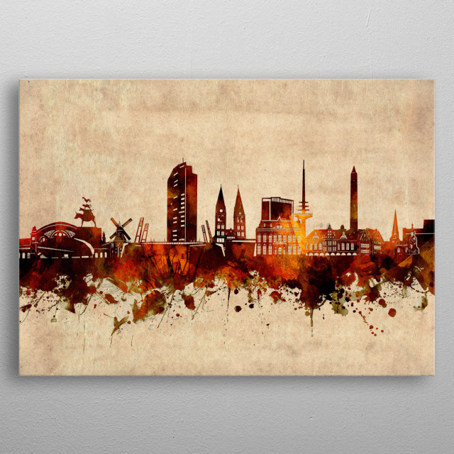 Bremen  skyline inspired by old,vintage,grunge,silhouette,art design metal poster