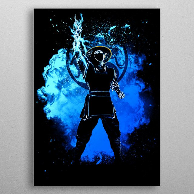 Black Silhouette of the thunder's fighter metal poster