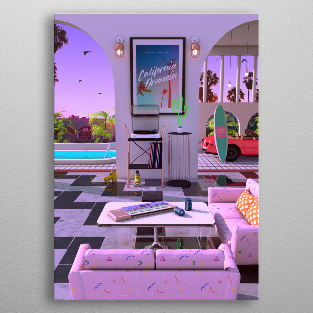 California Vibes, Denny Busyet Dreamlike artwork inspired by 80s / 90s aesthetic nostalgia fueled by synthwave retrowave, vaporwave style. metal poster