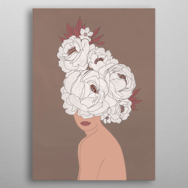 The line art of woman with peonies. metal poster