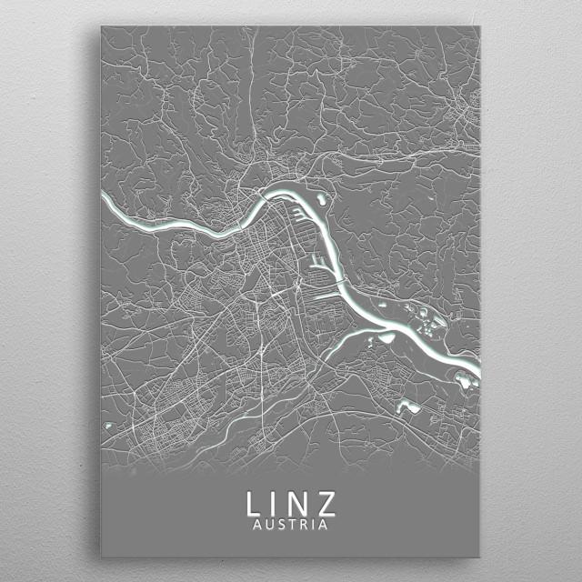 Linz Austria City Map metal poster
