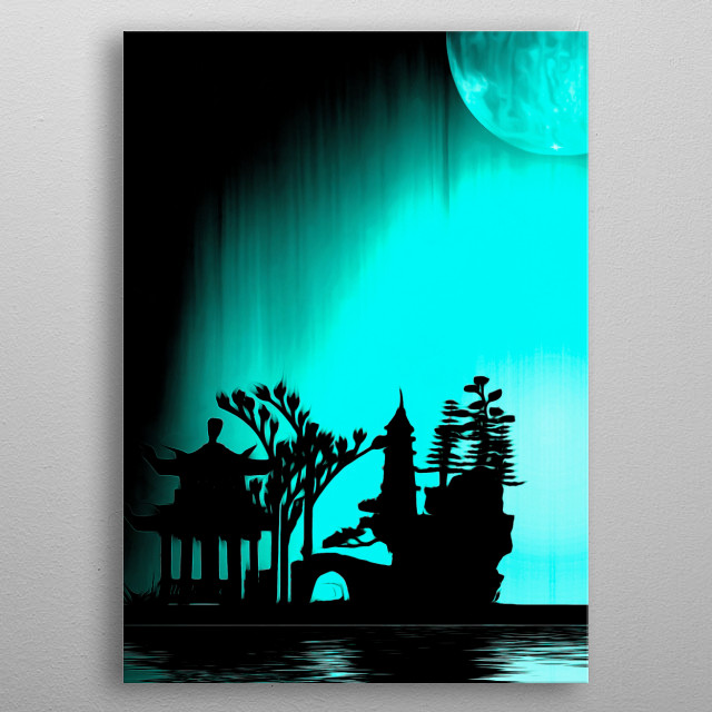 Asia night silhouettes in the moonlight metal poster