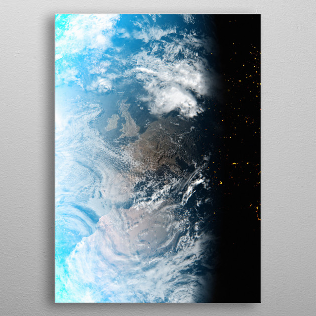A cgi image of Earth from space, focusing on the UK and Ireland. metal poster