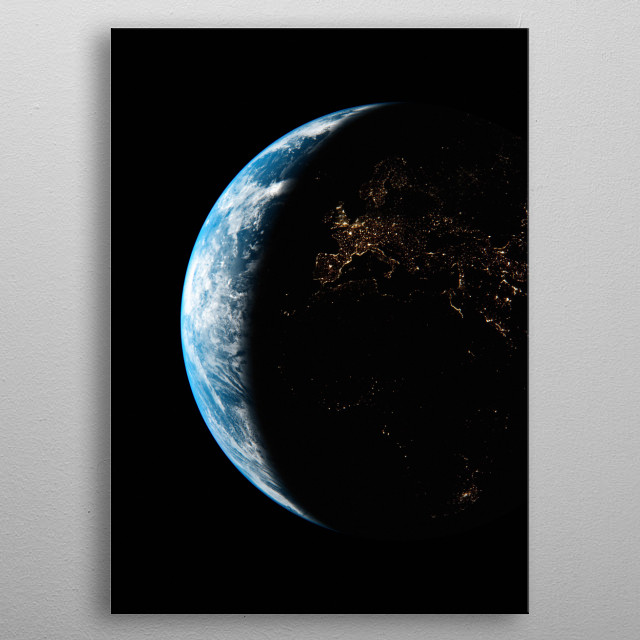 A cgi image of Earth from space, focusing on Europe and Africa at night. metal poster