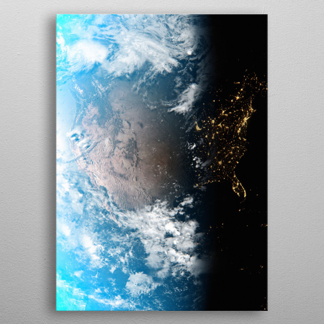 A cgi image of Earth from space, focusing on the USA. metal poster