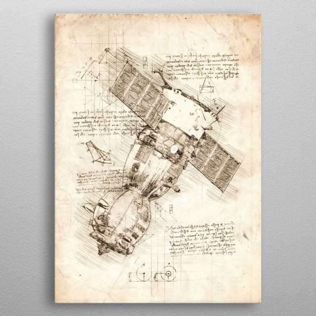 Sketch of the Soyuz Spacecraft metal poster