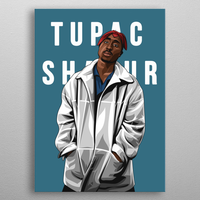 Rapper 2Pac (Tupac Shakur) on Vector Art Style  metal poster