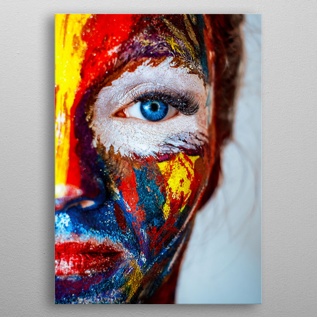 Face paint of a young girl metal poster