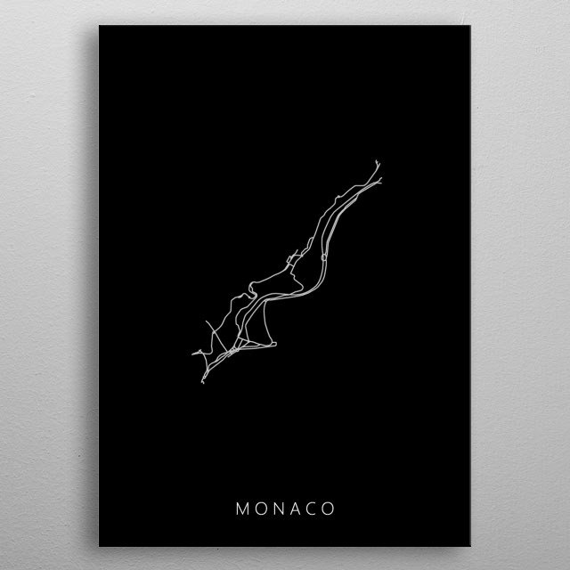 Map of Monaco created by roads and highways. metal poster