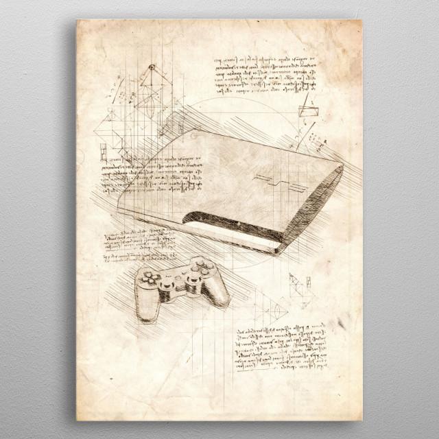 Sketch of a Playsation 3 Slim metal poster