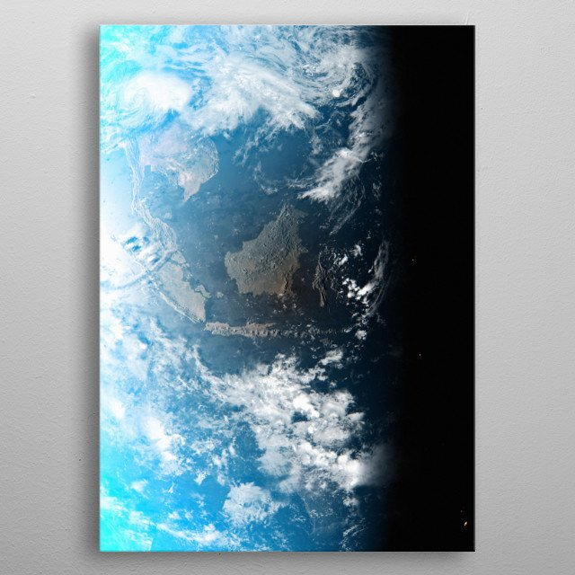 A cgi image of Earth from space, focusing on Indonesia. metal poster