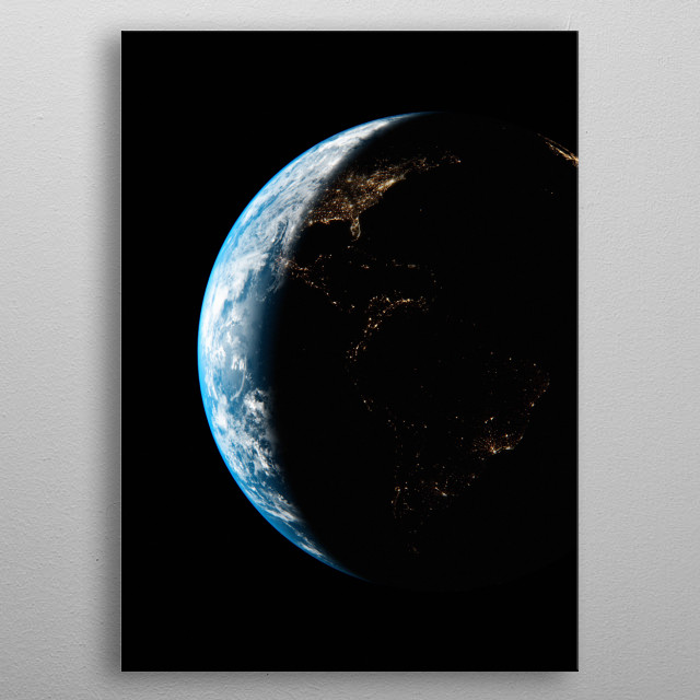 A cgi image of Earth from space, focusing on North and South America at Night. metal poster