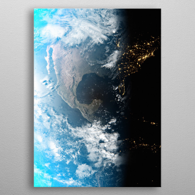 A cgi image of Earth from space, focusing on Mexico. metal poster