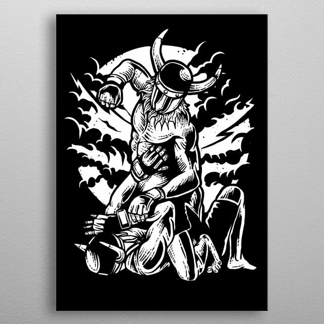 Viking MMA Fighter metal poster