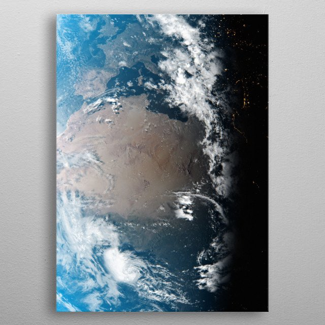 A cgi image of Earth from space, focusing on North Africa. metal poster