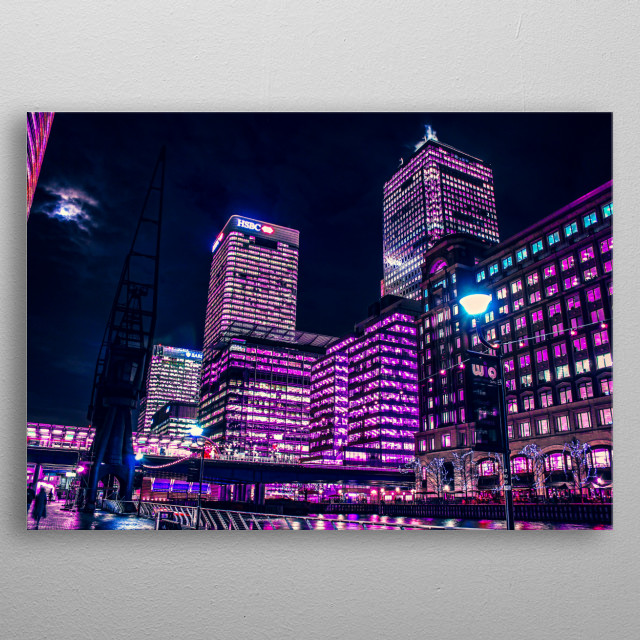 Long exposure shot and neon dreamscape edit of the Canary Wharf buildings from West India Quay walkway, London. metal poster