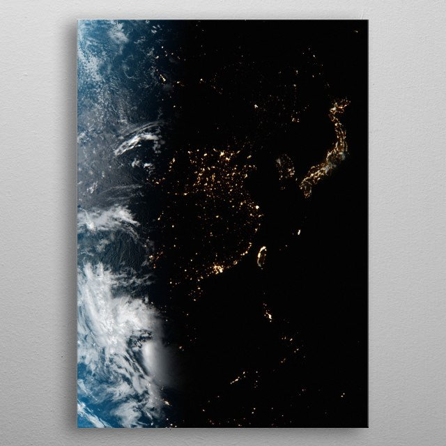 A cgi image of Earth from space, focusing on China and Japan at night. metal poster