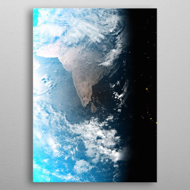 A cgi image of Earth from space, focusing on India and Sri Lanka. metal poster