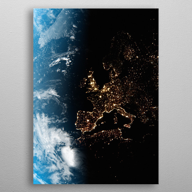 A cgi image of Earth from space, focusing on Western Europe at night. metal poster
