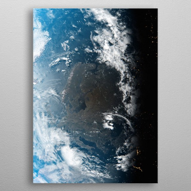 A cgi image of Earth from space, focusing on Scandinavia. metal poster