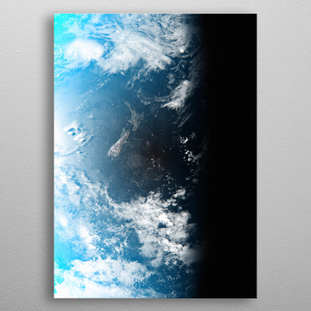 A cgi image of Earth from space, focusing on New Zealand. metal poster